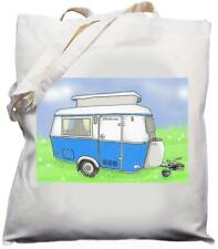 Vintage Pop Top Caravan Design - Natural (Cream) Cotton Shoulder Bag - Blue