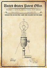 Us Brevet Edison Lampe 1882 Pancarte en Tôle Signe Métal Voûté Panneau Étain 20
