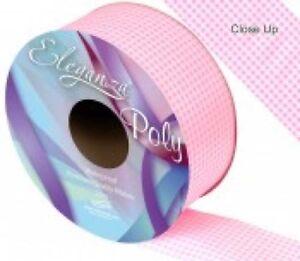 Light Pink Gingham Printed Florist Poly Ribbon  - wedding cars,bows,presents