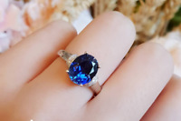 2.5ct Oval Cut Blue Sapphire Engagement Ring 14k White Gold Finish Solitaire