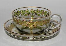 JUGENDSTIL THERESIENTHAL GLAS TEE TASSE BÖHMEN UM 1900 ART NOUVEAU GLASS TEA CUP