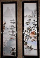 Set Vintage Japan Tile Framed Art Panel Ceramic Painted Asian Oriental ea 25x7.5