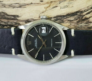 USED RARE VINTAGE ROLEX OYSTERDATE 6694 BLACK DIAL MANUAL WIND MAN'S WATCH