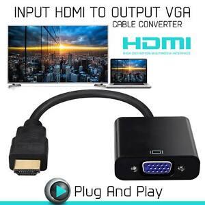 ADAPTATEUR VIDEO CONVERTISSEUR 1080P HDMI MALE VERS VGA FEMELLE