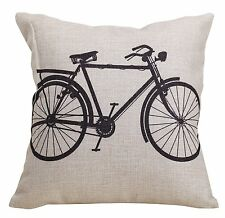 "Cotton Linen Square Cushion Cover Square 18""x18"" Inch Bicycle"