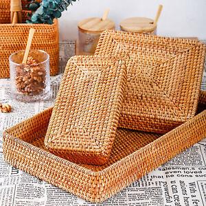 Rattan Serving Tray Rectangular Woven Basket Natural Wicker Serving Organizer US