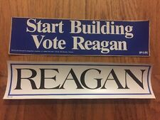 2 Vintage President Ronald Reagan Presidential Campaign Bumper Stickers