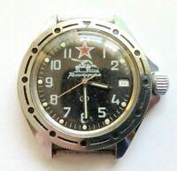 Military watch WOSTOK KOMANDIRSKIE Soviet TANK and Red Star made in USSR 1980s