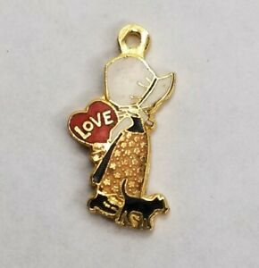 Vintage Holly Hobbie Enameled Charm, W/ Kitten & Heart Love