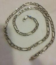 """Vintage Solid Sterling Silver .925 Italy Figaro Chain Necklace 24""""  28 grams"""