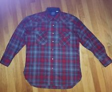 Pendleton Pure Virgin Wool Pearl Snap Front Western Shirt Men's Large Red Gray