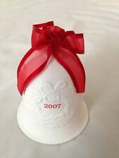 "White 2007 Bisque 3 1/2"" Bell Ornament with Red Ribbon"