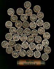 Gem BU Original Roll of 40 1960-P Jefferson Nickels Housed in Paper Wrapper