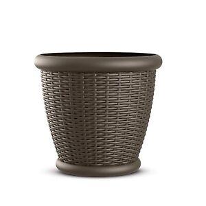 Suncast Willow 18 Inch Diameter Resin Decorative Wicker Patio Planter Pot, Java