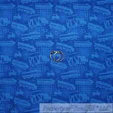 BonEful Fabric FQ Cotton Quilt Blue Dot Chuggington TRAIN BOY Disney Movie Decor