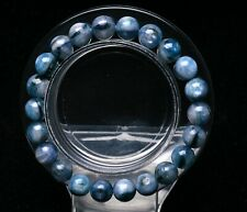 8.5mm Natural Blue Kyanite Crystal Cat Eye Beads Stretch Bracelet AAA