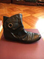 Women's Black Italalian Leather Booties La Soffitta di Gilde Size 8.5