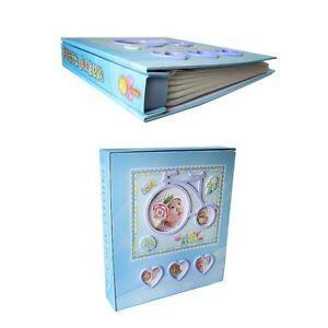 Baby Boy Blue Photo Album Baby Christening Gift Holds 80 Prints 4 X 6