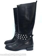 Zara Cuero Tachonado Botas Mitad de Pantorrilla Reino Unido 5 7 RRP £ 99.99