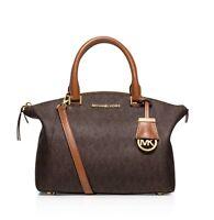 Michael Kors Riley Small MK Signature PVC Satchel Handbag Brown Gold $298 NWT