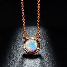 Beautiful White/Blue Fire Opal Rose Gold Womens Necklace Chain Wedding Jewelry
