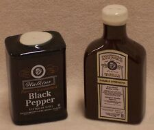 WATKINS SALT AND PEPPER SHAKERS CERAMIC VANILLA BOTTLE