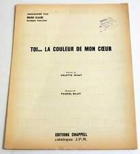 Partition vintage sheet music MARIE-CLAIRE : Toi La Couleur de mon Coeur * 70's