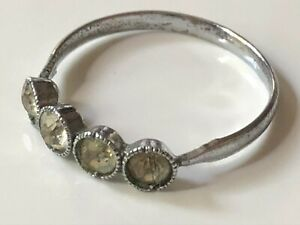 Antique? Victorian? vintage silver coloured metal and clear paste ring size P