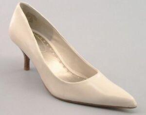 New NINE & CO Women White Leather Evening High Heel Pointy Toe Pump Shoe Sz 7.5