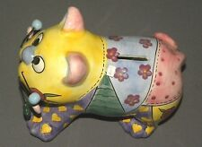 Vintage Multicolor Cat Bank Porcelain Figure w Wire Whiskers