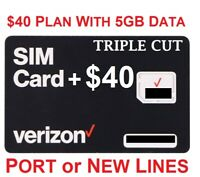 Verizon Wireless Sim Card 4G LTE includes First Month $40 plan with 5GB Data