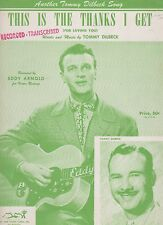 Eddy Arnold This Is The Thanks I Get (For Loving You) US Sheet Music
