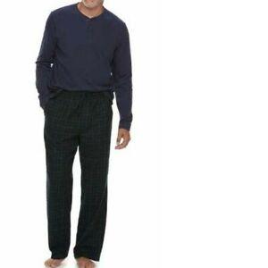 Mens Pajamas 2 Pc Croft & Barrow Henley Top & Pants Flannel Winter-sz S, L & XL