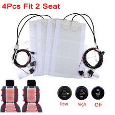 Universal 12V Car Carbon Fiber Heated Seat Heater Kit Cushion Round Switch Set