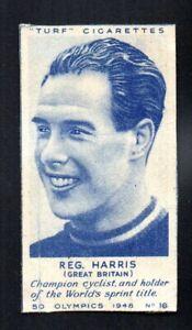 REG. HARRIS CYCLIST GREAT BRITAIN 1948 TURF CIGARETTES OLYMPICS #16 VGEX