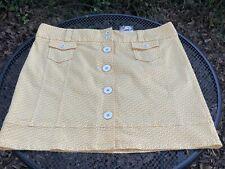 L.L. Bean Women's Size 16 Yellow White Button Front A Line Skirt Pockets New