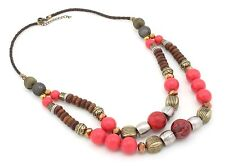 Zest Chunky Coloured Beads 2 Strand Necklace on Leather Cord Red Brown & Gold