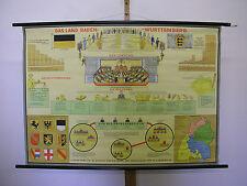 Belles anciennes écoles carte Bade-Wurtemberg 116x82cm VINTAGE MAP ~ 1958