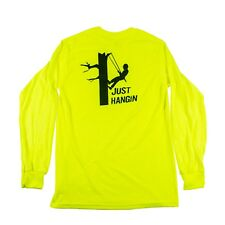 "Tree Climbers Long Sleeve Safety Green Shirt ""Just Hangin"" Graphic on Back, Med"