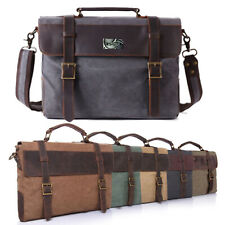Men Canvas&Leather Laptop Briefcase Travel Shoulder Handbag School Business Bag