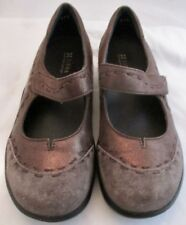 Ziera Womens Grey Brown Metallic Suede Mary Jane Flats Size 37 Wide US 6 6.5