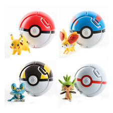 4 Pokeball + 4 Action Figures Pokemon Bounce Kid Toy Child Cosplay Game Gift Set
