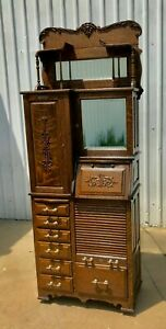1890's  Quarter Sawn Oak Harvard Dental Cabinet, Collectors or Jewelry Cabinet