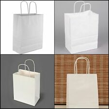 50 xRetail Shopping Craft Gift Bags WHITE Paper With Handles Retail Bags 10x5x13