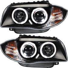Scheinwerfer Set Satz Angel Eyes  für BMW E81 E82 E87 E88 2004-2011 klar schwarz