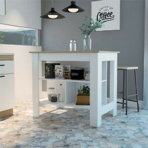 Kitchen Island With White Base and Light Oak Top