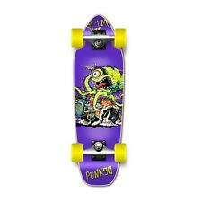 Punked Hot Rod Slim Purple Graphic Complete Longboard Mini Cruiser Skateboard