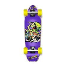 Punked Hot Rod Slim Purple Graphic Complete Longboard Mini Cruiser Skateboard