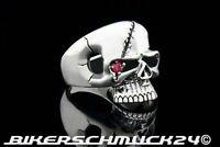 Biker Schmuck Skull mit rotem Zirkonia 925 Silber Totenkopf Ring Herren Geschenk