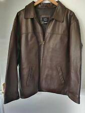 1860 Menswear Brown Leather Jacket Large